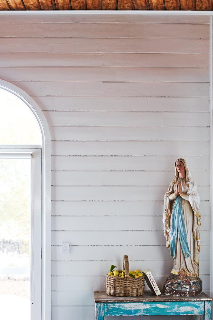 This statue of Mary was a gift to Susan and Annie from a friend who found it on a construction site. It now sits in the converted church.