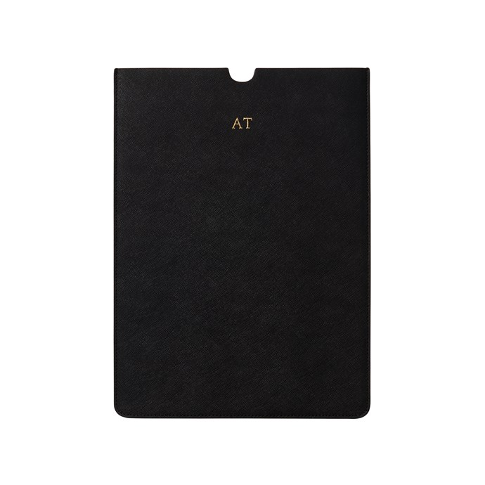 "Black 13-inch Laptop Sleeve, $139, [The Daily Edited](https://www.thedailyedited.com/black-13-inch-laptop-sleeve|target=""_blank""
