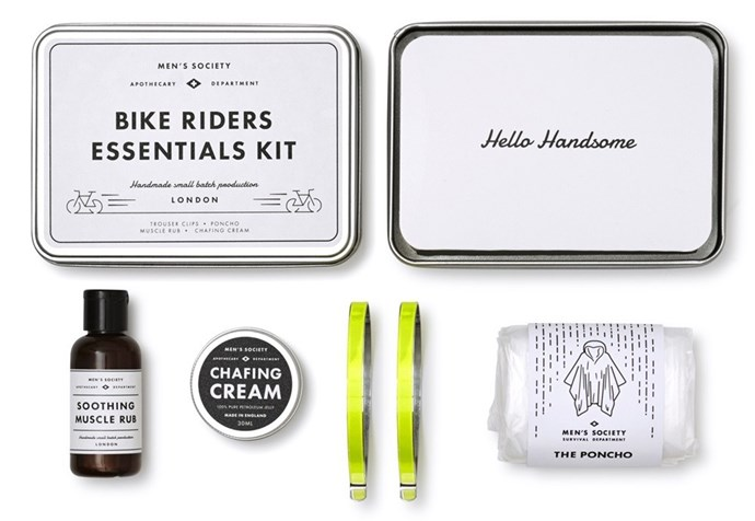 "Men's Society Bike Riders Essentials Kit, $40, [Hunting For George](https://fave.co/2nR7DLo|target=""_blank""