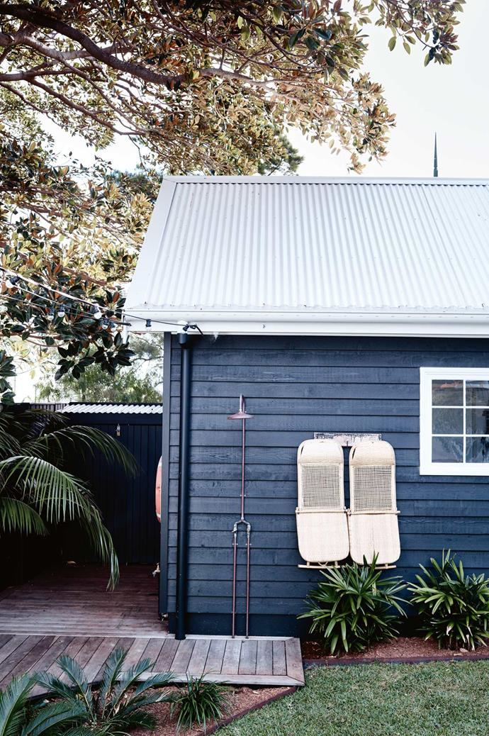 "An outdoor shower and fold-up Weekender chairs from [Byron Bay Hanging Chairs](https://www.byronbayhangingchairs.com.au/|target=""_blank""