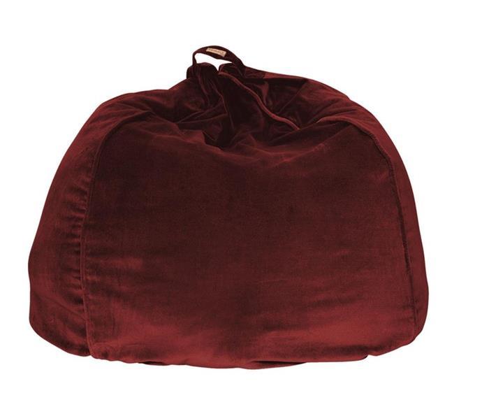 "'Pomegranate' **beanbag**, $139, from [Kip & Co](https://kipandco.com.au/home/beanbags/pomegranate-velvet-beanbag.html|target=""_blank""|rel=""nofollow"")."