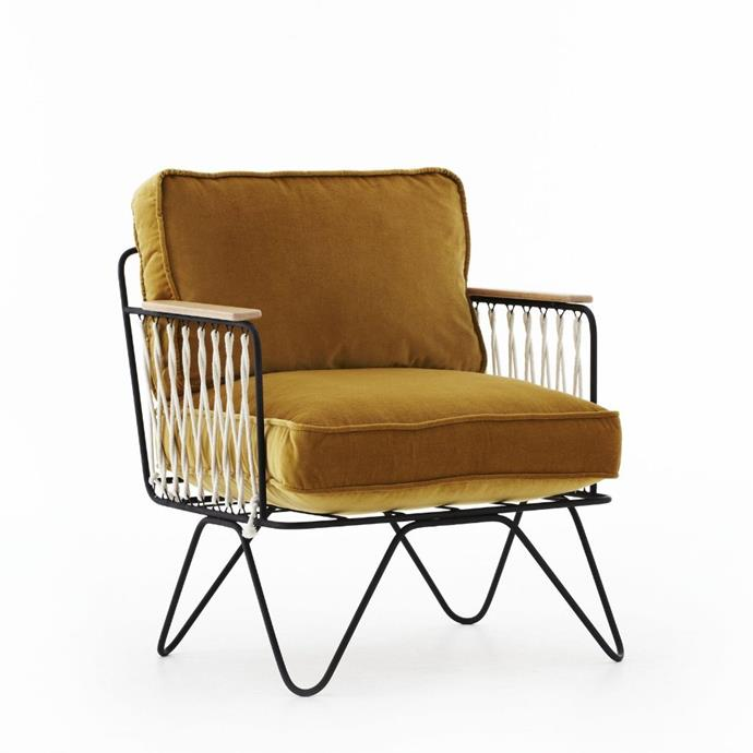 "'Croisette' **armchair** in gold, $1490, from [Bastille & Sons](https://bastilleandsons.com.au/products/croisette-armchair-velvet|target=""_blank""|rel=""nofollow"")."
