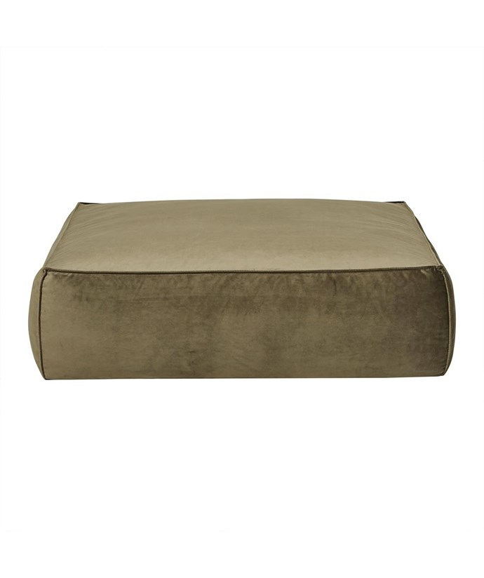 "'Vittoria Retreat' square **ottoman** in army green velvet, $830, from [Hunting for George](https://fave.co/2N5YSrW|target=""_blank""