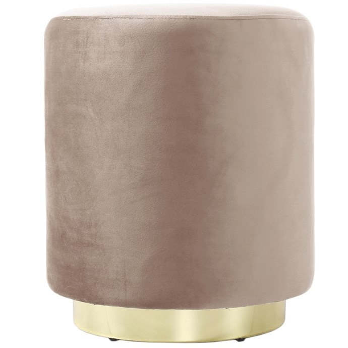 "Round 'Ella' velvet **ottoman** in camel, $149, from [Temple & Webster](https://fave.co/2nUtmSW|target=""_blank""