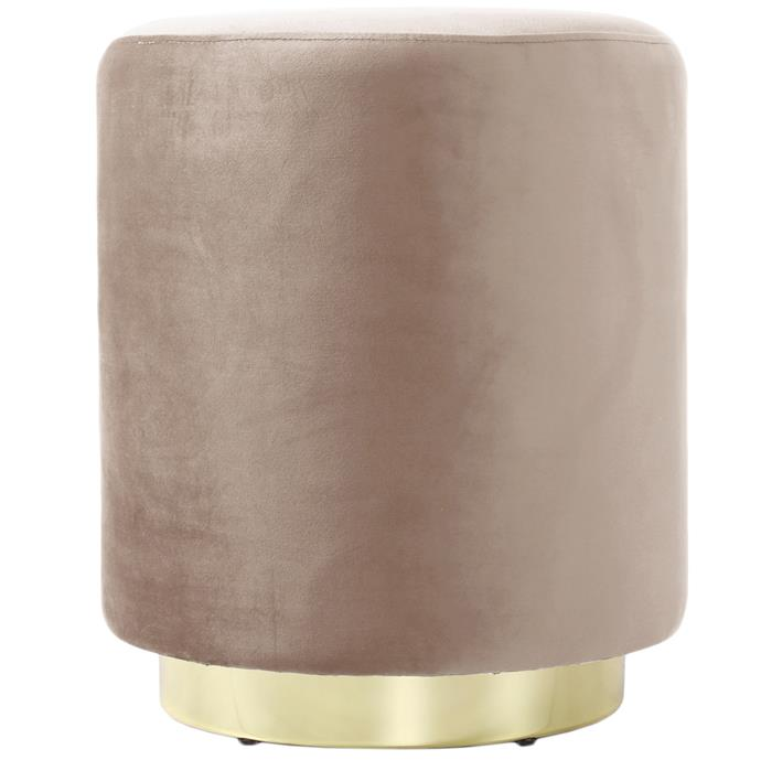"""Round 'Ella' velvet **ottoman** in camel, $149, from [Temple & Webster](https://fave.co/2nUtmSW