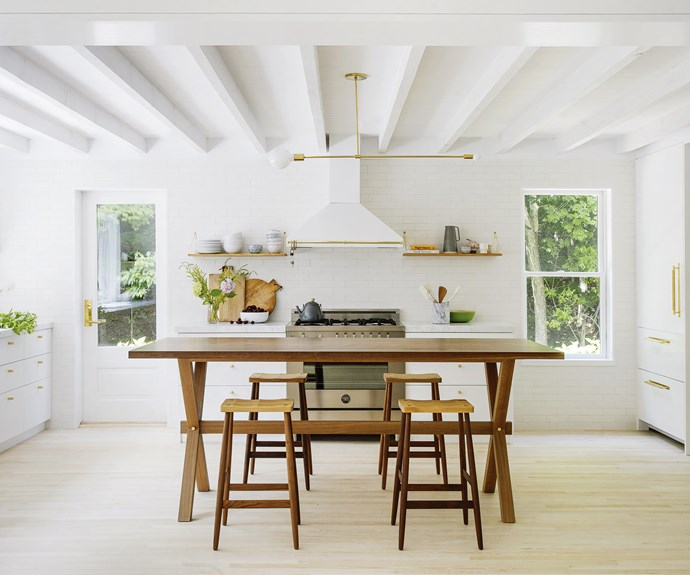 "**Kitchen** ""We like the visibility the custom high table gives, rather than a massive island bench that floats in the room,"" says Chelsie Lee, senior designer for Jessica Helgerson Interior Design (JHID). It's surrounded by Pinch 'Imo' bar stools (try [Spence & Lyda](https://www.spenceandlyda.com.au/