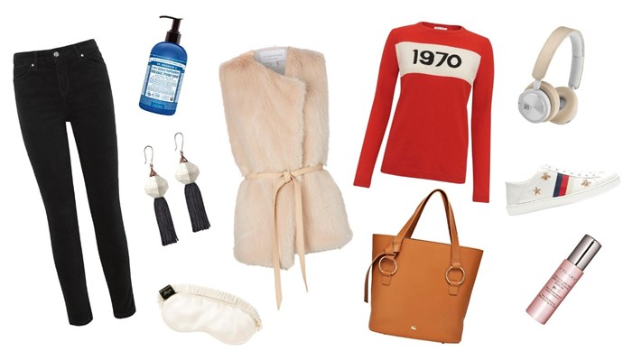 CLOCKWISE, LEFT TO RIGHT: 1. Donna Ida Rizzo The High Top skinny velvet jeans in black, about $340, from [Harvey Nichols](https://www.harveynichols.com/). 2\. 4-in-1 Sugar Peppermint Organic Pump Soap, from $17.95, from [Dr Bronner](https://www.drbronner.com.au/). 3\. Beaumont wrap vest in Nude, $520, from [Viktoria and Woods](https://viktoriaandwoods.com.au/). 4\. Bella Freud 1970 merino jumper in red, $547, from [Workshop](https://www.workshop.co.nz/). 5\. H8i wireless headphones in Natural, $599, from [Bang and Olufsen Australia](https://www.beostore.com.au/). 6\. Gucci New Ace embroidered low-top leather trainers, about $900, from [Matches Fashion](https://www.matchesfashion.com/au/). 7\. Terry Cellularose Brightening Serum, $152, from [Mecca](https://www.mecca.com.au/). 8\. Marisol bag in Tan, $465, from [Kate Sylvester](https://katesylvester.com/). 9\. Sleep mask, $49.95, from [Slip](https://www.slip.com.au/). 10\. Mythical tassel earrings in Storm, $115, from [Studio Elke](https://studio-elke.com/).