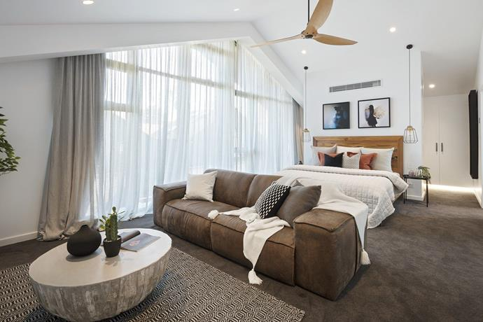 """The home's [master bedroom](https://www.homestolove.com.au/the-block-2017-master-bedroom-suite-room-reveals-5701 target=""""_blank"""") is a calming retreat. *Photo: Domain*"""