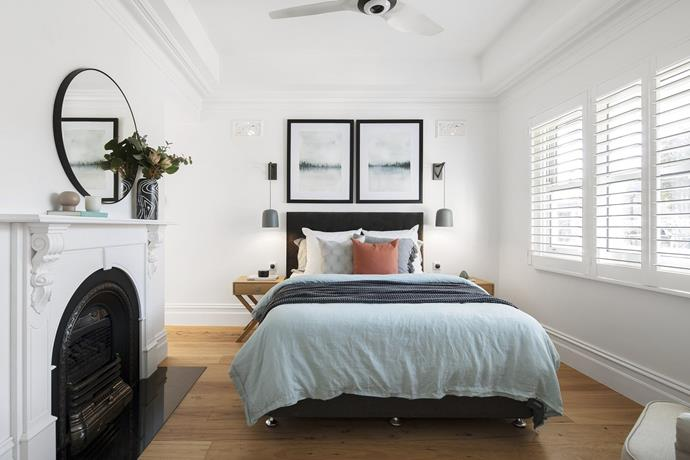 """The [guest bedroom](https://www.homestolove.com.au/create-an-inviting-guest-bedroom-8865 target=""""_blank"""") is complete with its own luxurious ensuite. *Photo: Domain*"""