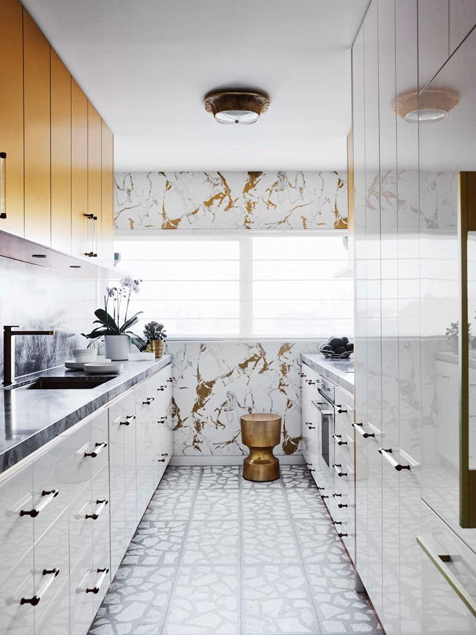 Custom kitchen joinery and 'Palladiano' flooring by Greg Natale.