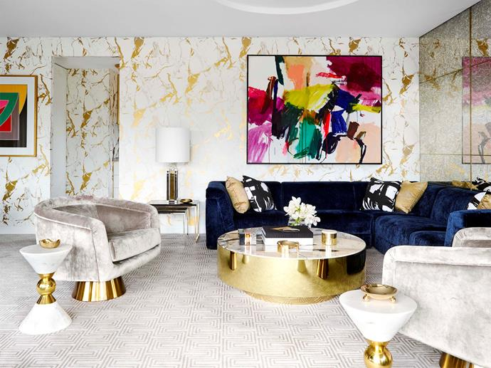 "Jonathan Adler sofa and armchair. Patterned cushions, coffee table, table lamp, nesting tables and rug by [Greg Natale](https://shop.gregnatale.com/|target=""_blank""