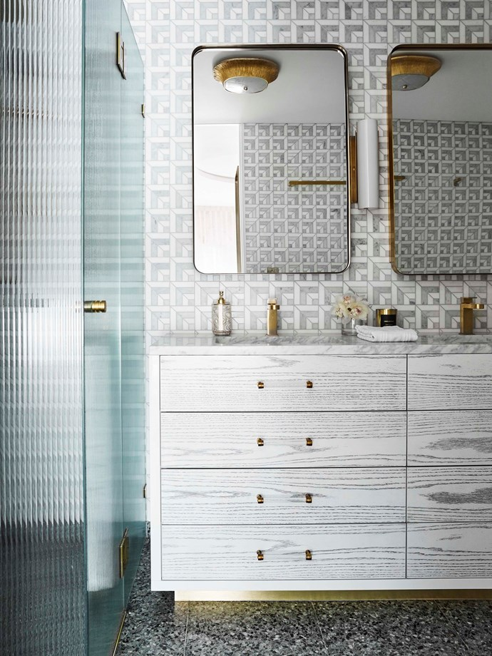 Custom cerused bathroom joinery, green marble floor tiles and 'Ponti' marble mosaics, all by Greg Natale.