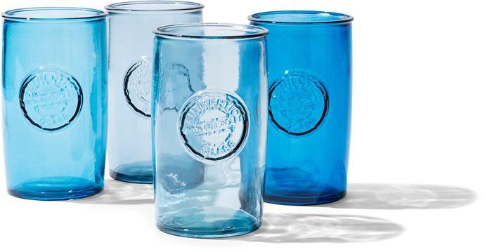 Set of 4 blue **glasses**, $12.95.