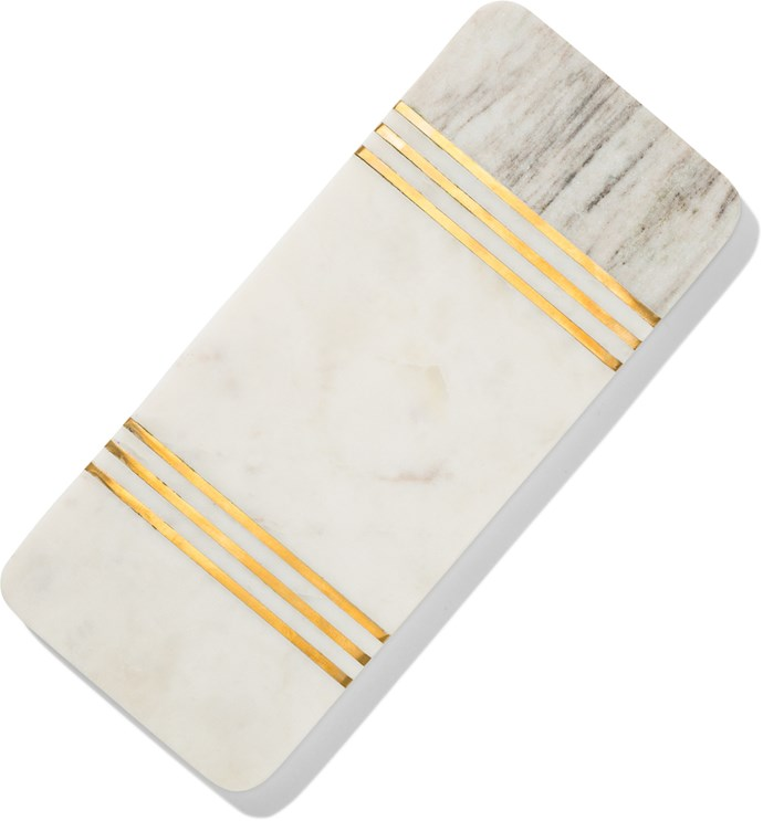 Gold marble **serving board**, $24.95.