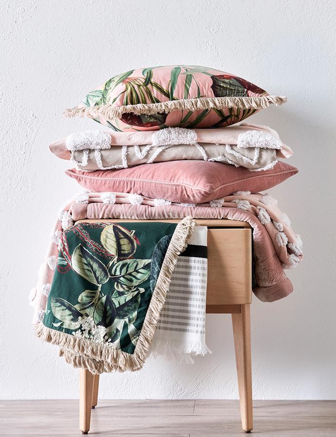 "SHOP: Linen House Michiko quilt cover set, $299.95; Haze queen quilt cover set in millennial pink, $289; Domayne Luxuries Velvet European pillowcase in dusky pink, $89; Linen House Wonderplant 48x48cm cushion, $54; European pillowcase, $39; Lynette cushion, $89; [Domayne Luxuries Marco striped Turkish towel](https://www.domayne.com.au/domayne-luxuries-marco-stripe-bath-towel.html target=""_blank"" rel=""nofollow""), $54; Richmond single-drawer bedside table, $629."