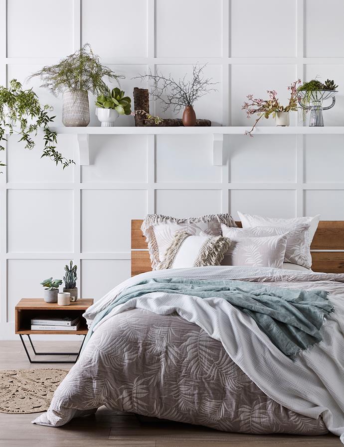 "SHOP: Linen House Canyon queen quilt cover set, $219; Seneca Santos comforter in white, $339; European pillowcase in white, $49; Linen House Michiko linen cushion $59.95; Betsy macramé rectangular cushion, $49; Aura linen throw in mist, $179; [Industry queen bed frame](https://www.domayne.com.au/industry-bed-frame-queen.html target=""_blank"" rel=""nofollow""), $1499; Industry bedside table with open shelf, $399."