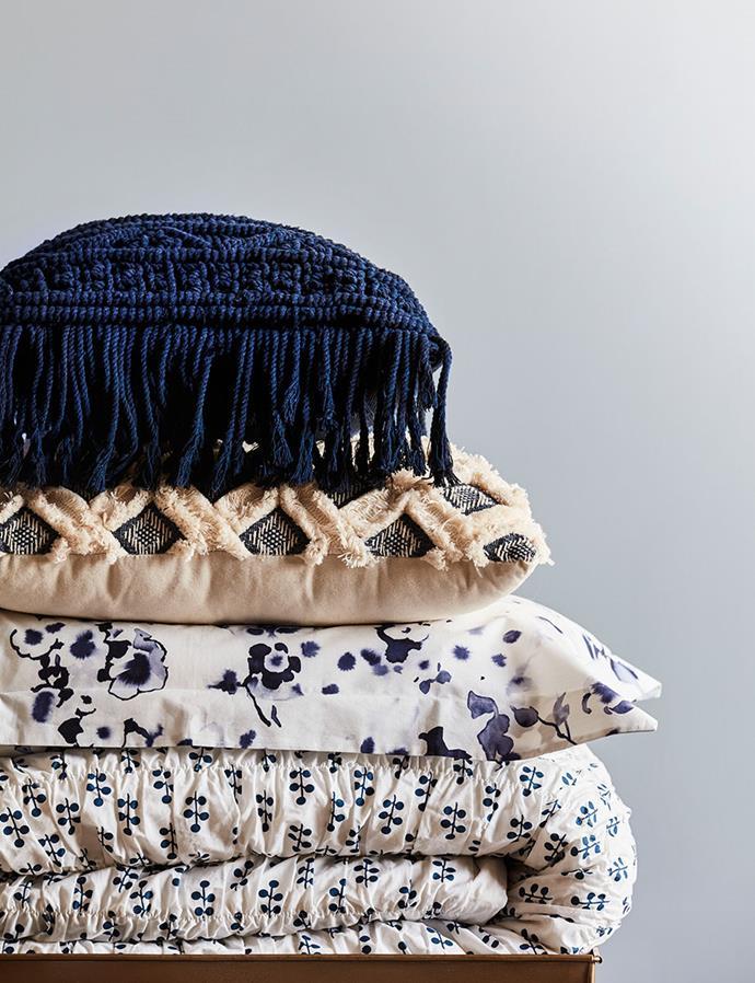 "SHOP: [Acacia queen quilt cover set](https://www.domayne.com.au/shannon-fricke-acacia-quilt-cover-set-queen.html target=""_blank"" rel=""nofollow""), $279; Okinawa quilt cover set in blue, $269 (pillowcase shown); Academy cushion in navy, $99; [Lakota macramé tassel cushion in navy](https://www.domayne.com.au/lakota-macrame-tassel-cushion-natural.html target=""_blank"" rel=""nofollow""), $39."