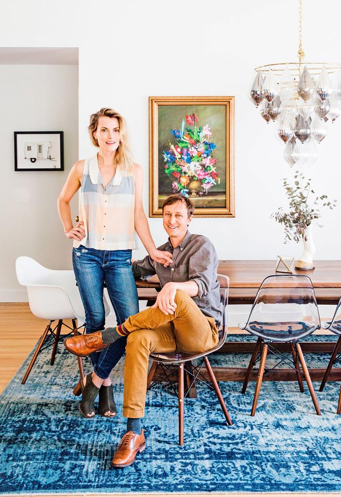 "**Dining area** Homeowners Mary Anne and Justin. Distressed arabesque rug, [West Elm](http://www.westelm.com.au/|target=""_blank""