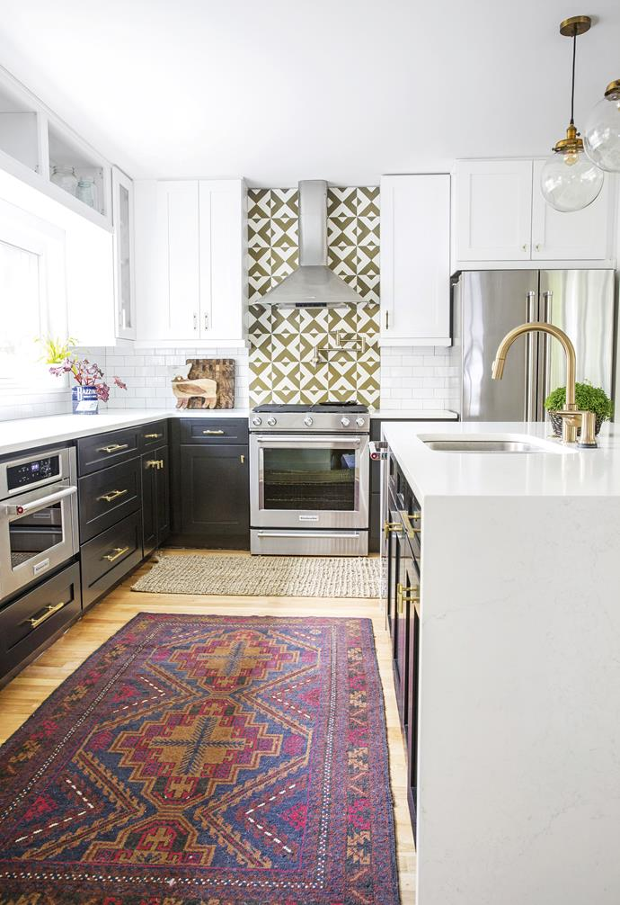 "**Kitchen** Rugs add colour and texture. Tiles, [Cement Tile Shop](https://www.cementtileshop.com/|target=""_blank""