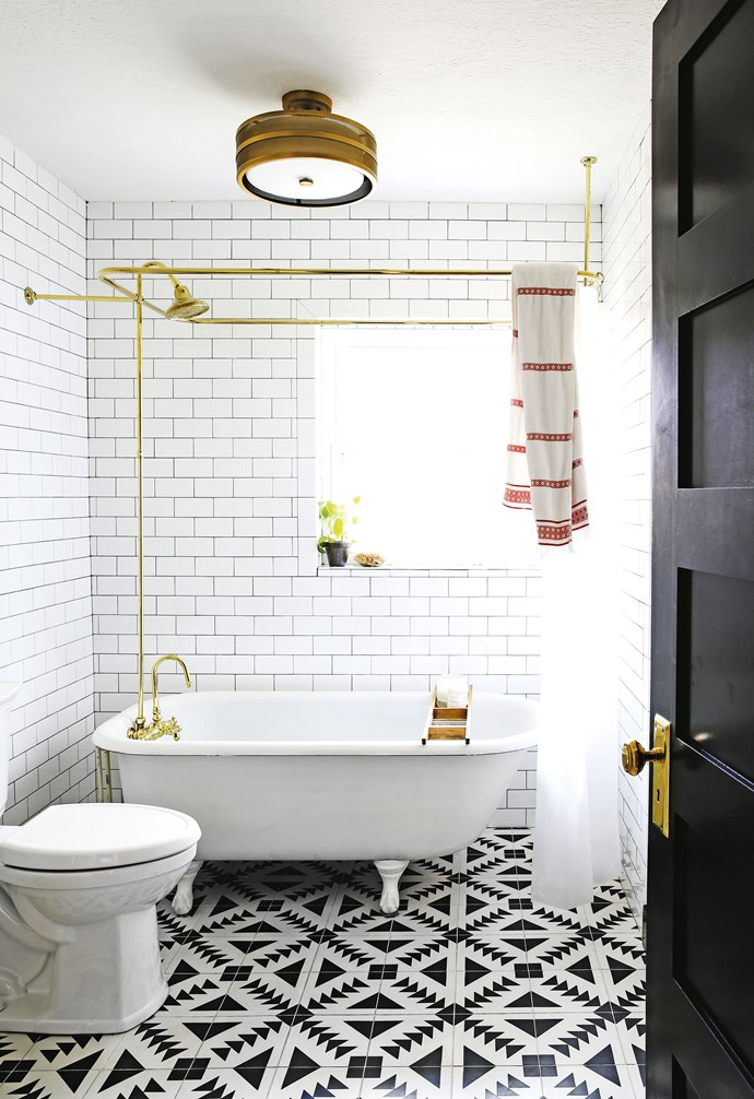 "**Bathroom** The couple purchased the claw-foot tub from a family renovating their own home for US$900. The 'Greta' light fitting is from US retailer Safavieh and the 'Tulum' encaustic floor tiles from Cement Tile Shop. Brass shower rail, [Vintage Tub & Bath](https://www.vintagetub.com/|target=""_blank""