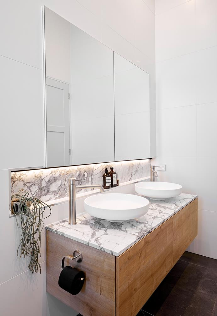 **Norm and Jess** Despite the small size of their ensuite, Jess and Norm went ahead with two basins.