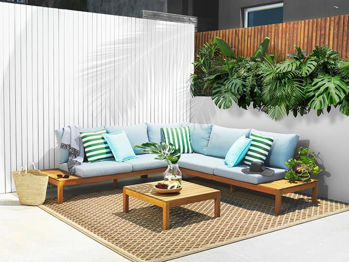 "[Mason 4-Piece Corner Modular Lounge Setting](https://www.harveynorman.com.au/mason-4-piece-outdoor-modular-lounge-setting.html|target=""_blank""|rel=""nofollow""), $1599; [Natura Rug Large](https://www.harveynorman.com.au/natura-501-eg3n-large-rug.html|target=""_blank""|rel=""nofollow""), $549; [Hali Outdoor Striped Scatter Cushion in Kale](https://www.harveynorman.com.au/hali-outdoor-scatter-striped-cushion-kale.html|target=""_blank""|rel=""nofollow"") and [Hali Outdoor Scatter Cushion in Paradise Blue](https://www.harveynorman.com.au/hali-outdoor-scatter-cushion.html|target=""_blank""|rel=""nofollow""), $19.95 each at [Harvey Norman](https://www.harveynorman.com.au/|target=""_blank""|rel=""nofollow"")."