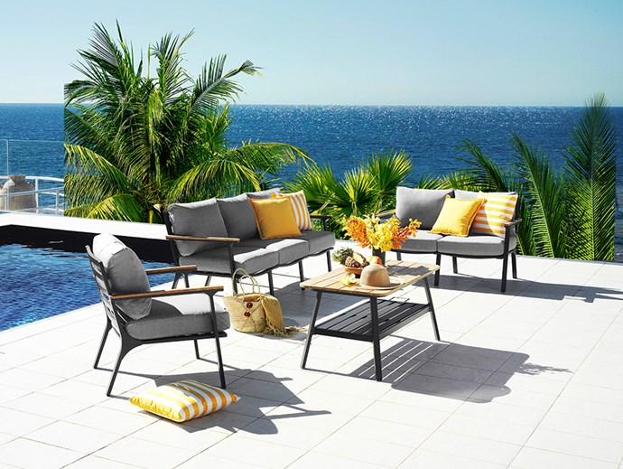"[Concorde 3-Seater Sofa](https://www.harveynorman.com.au/concorde-outdoor-lounge-setting.html|target=""_blank""|rel=""nofollow""), $899; [Concorde 2-Seater Sofa](https://www.harveynorman.com.au/concorde-outdoor-lounge-setting.html|target=""_blank""|rel=""nofollow""), $699; [Concorde Armchair](https://www.harveynorman.com.au/concorde-outdoor-lounge-setting.html|target=""_blank""|rel=""nofollow""), $399; [Concorde Coffee Table](https://www.harveynorman.com.au/concorde-outdoor-lounge-setting.html|target=""_blank""|rel=""nofollow""), $399; [Hali Outdoor Striped and Plain Scatter Cushion in Lemon](https://www.harveynorman.com.au/hali-outdoor-scatter-cushion-midnight-blue.html|target=""_blank""|rel=""nofollow""), $19.95 each at [Harvey Norman](https://www.harveynorman.com.au/|target=""_blank""|rel=""nofollow"")."