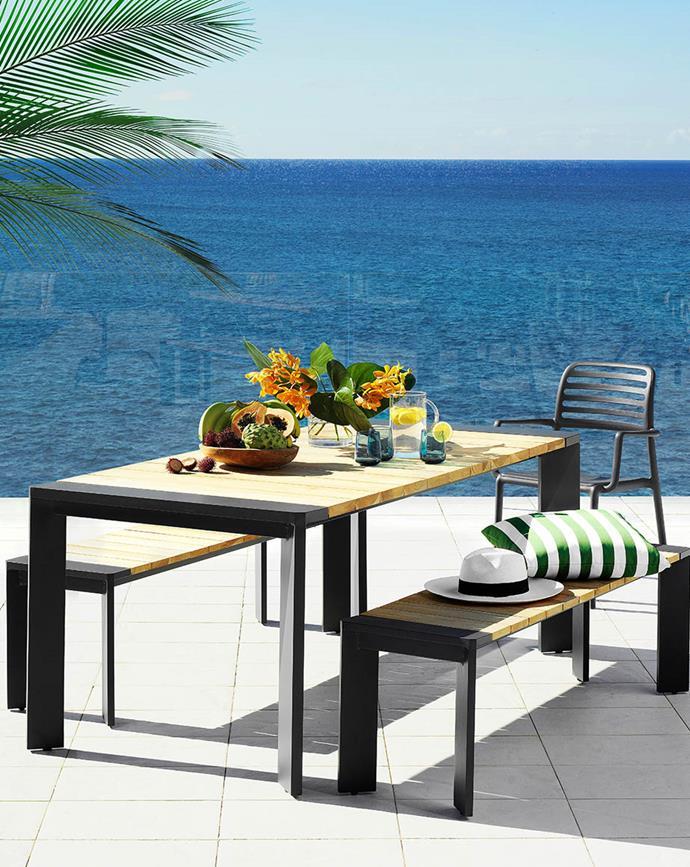 "Alias 3-Piece Rectangular Bench Dining Setting, $2199; [Zeke Dining Chair in Gunmetal](https://www.harveynorman.com.au/zeke-outdoor-resin-dining-chair-charcoal.html|target=""_blank""|rel=""nofollow""), $79 each; [Hali Outdoor Striped Scatter Cushion in Kale](https://www.harveynorman.com.au/hali-outdoor-scatter-striped-cushion-kale.html|target=""_blank""|rel=""nofollow""), $19.95 each at [Harvey Norman](https://www.harveynorman.com.au/|target=""_blank""|rel=""nofollow"")."