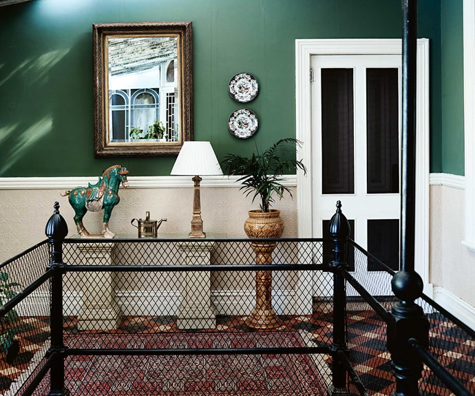 The conservatory off the dining room has stairs leading to a large billiard room below.
