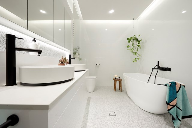 "Courtney and Hans' main bathroom was a winner with the judges, and is clad in [trendy terrazzo](https://www.homestolove.com.au/terrazzo-trend-2018-marble-5947|target=""_blank"")."