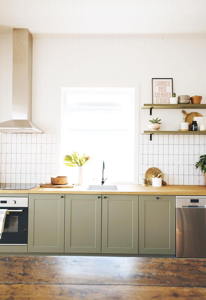 "**DIY tip:** Bespoke doesn't need to be costly ""I searched everywhere for a cabinet with a bevelled profile,"" says Geneva. ""We painted the [Kaboodle](https://www.kaboodle.com.au/