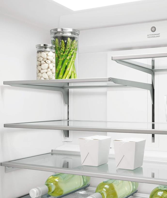 The spill-safe design of the shelves catches drips or leaks, making them easy to clean inside the fridge.