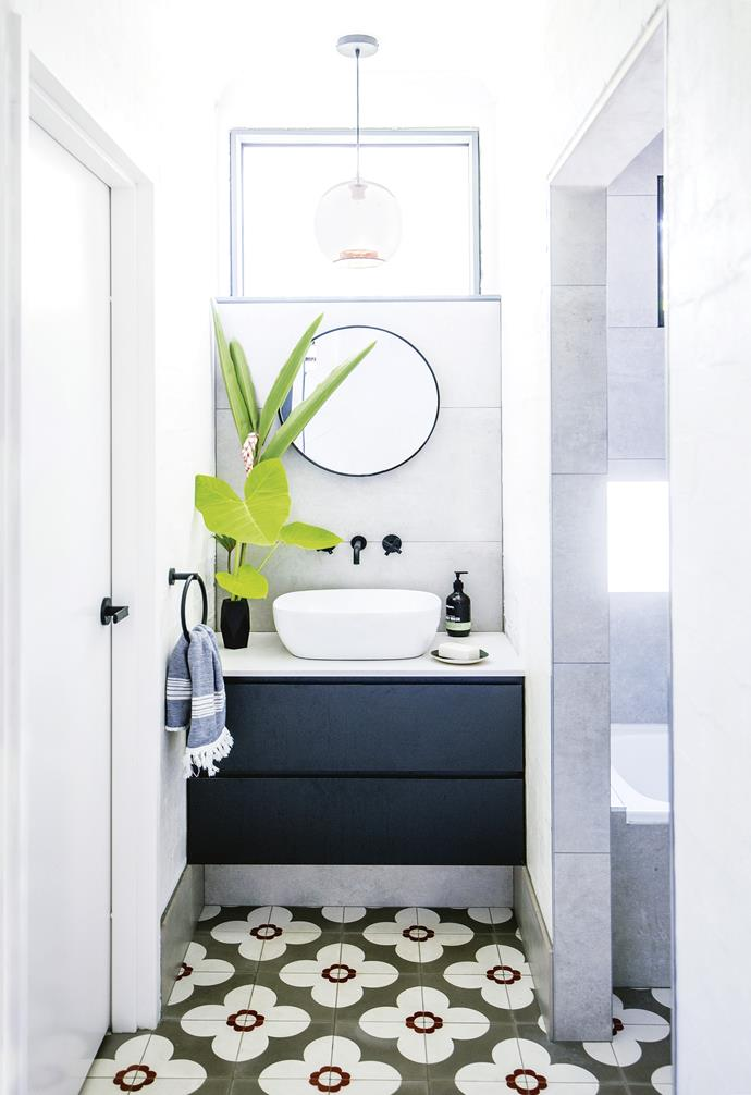 "**Slot in** Steal space from a hallway for a vanity and basin, keeping the wet zone separate. The owners, a pair of artists, chose the same finishes used elsewhere in the house for a cohesive feel, including the vibrant patterned floor tiles from [Jatana Interiors](http://www.jatanainteriors.com.au/|target=""_blank""