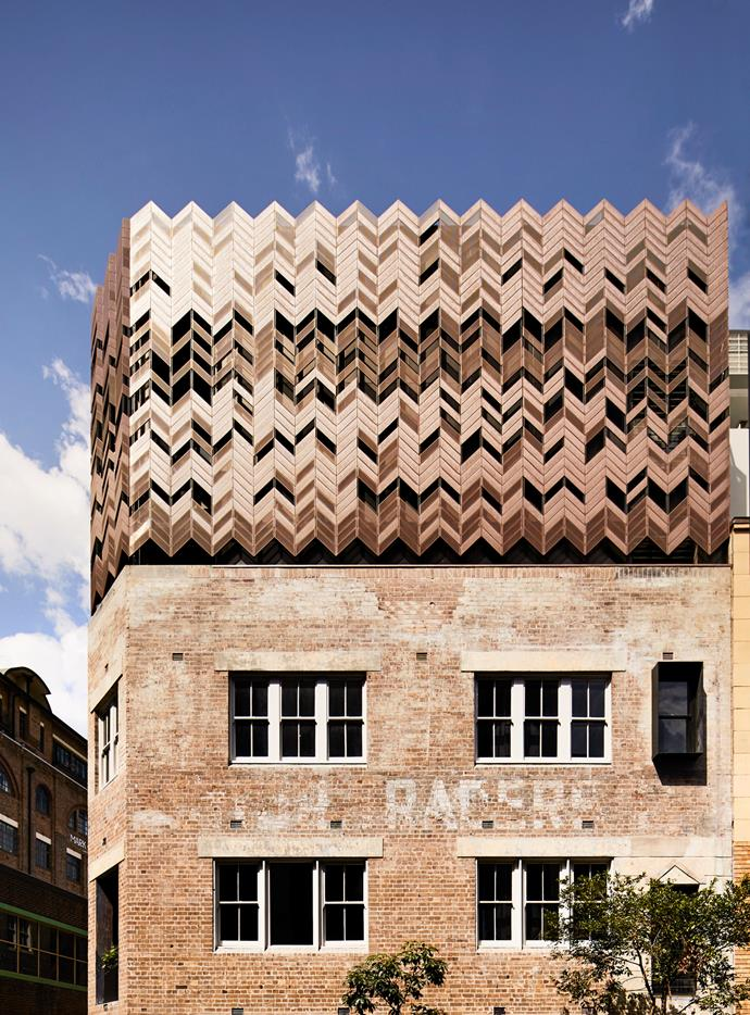 The hotel's exterior features a striking herringbone copper screen. *Photo: Sharyn Cairns*