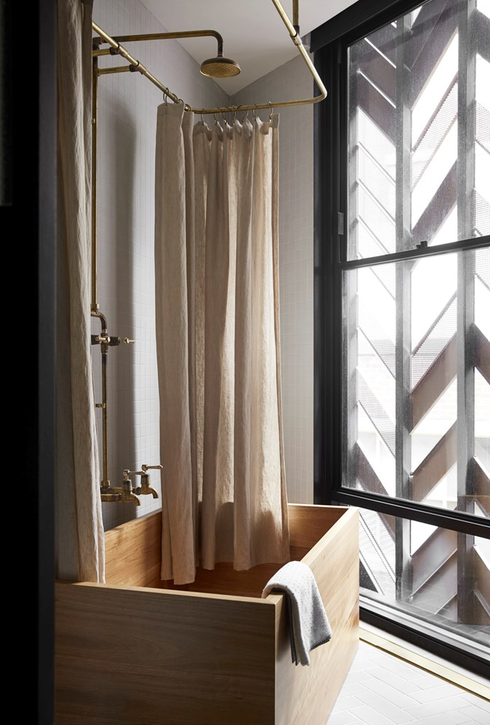 Some rooms feature a Japanese-style timber bathtub, handcrafted in Australia. *Photo: Sharyn Cairns*