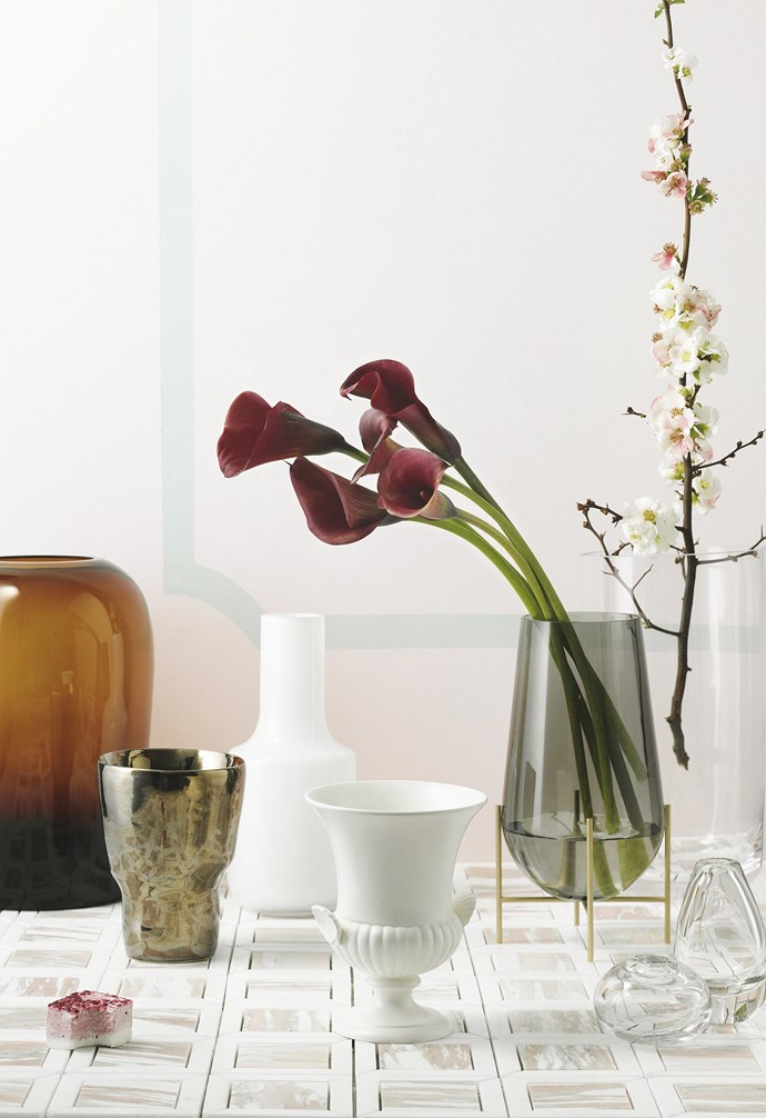 "**The essentials** ""My must-have vessels include a basic cylinder vase for tall, heavy blooms; a squat, open bowl-style vase for displaying pretties plucked from the garden; a low posy vase and a couple of tiny bud vases"" — Myra Pereze<br><br>  Menu 'Troll' vase, $575, [Top3 By Design](http://top3.com.au/