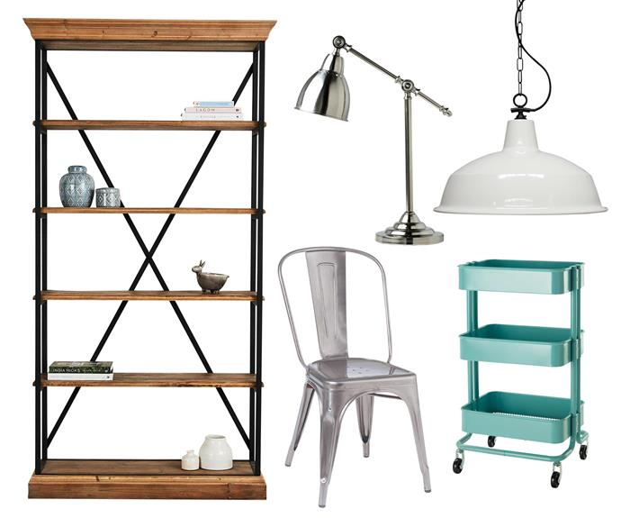 """**Old meets new** Give an industrial edge to vintage-inspired spaces with sleek metallic finishes, patina-rich pieces and a hint of colour. **Get the look** (clockwise left to right) Industrial warehouse pendant light, from $153, [Fat Shack Vintage](https://www.fatshackvintage.com.au/