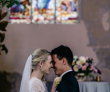 Country wedding: a historic church filled with lush flora near the Macedon Ranges, Victoria