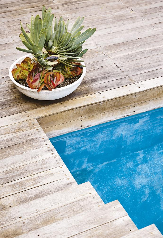 "**Deck to impress** Spotted gum decking gives pool surrounds a resort feel and will weather naturally. *Build: [Hudson Developments](http://www.hudsondevelopments.com.au/|target=""_blank""