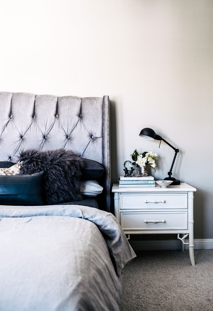 "**Bedroom** A silver bedhead makes a statement in the bedroom and pairs beautifully with the white side table. Bedding, [Cultiver](https://cultiver.com.au/|target=""_blank""