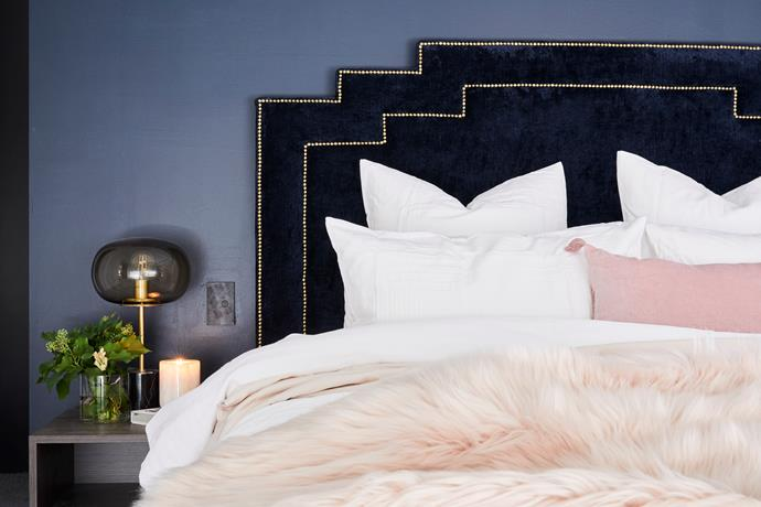 """'Winston' **bedhead**, from $1100, available at [Bedsahead](https://bedsahead.com.au/shop/winston-bedhead/