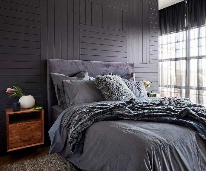 **Carla and Bianca** The timber feature wall and grey-on-grey styling packed a punch.