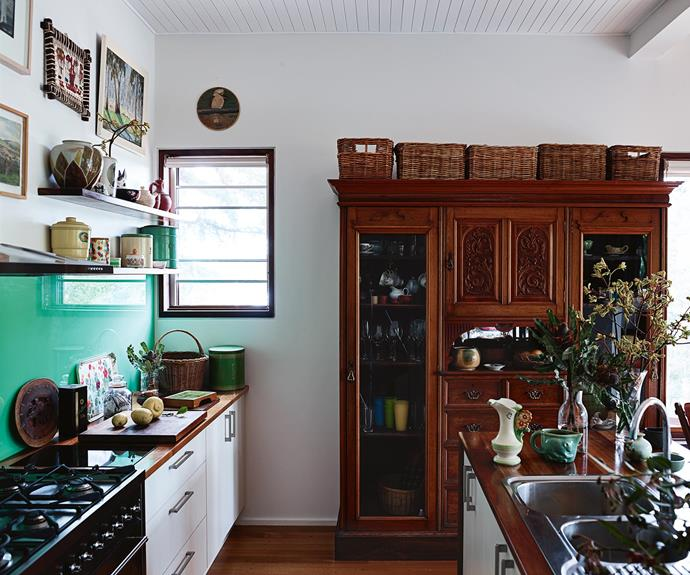 David repurposed his great grandparents' wardrobe to make the cupboard in the kitchen. The cabinetry was done by A.G. Kitchens in Chewton, using Tasmanian blackwood benchtops.