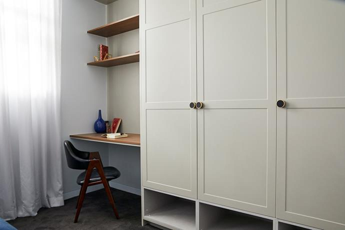 """Jess and Norm took advantage of an awkward space in the guest bedroom and turned it into a nifty [study nook](https://www.homestolove.com.au/12-creative-ways-to-create-a-study-nook-in-your-home-17963