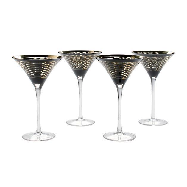 "Iris Apfel Snakeskin Martini Glasses, $57.26, [Grandin Road](https://www.grandinroad.com/iris-apfel-snakeskin-martini-glasses-2c-set-of-four/indoor-furniture/designers/iris-apfel/1152946?&prank=13 target=""_blank"" rel=""nofollow"")"