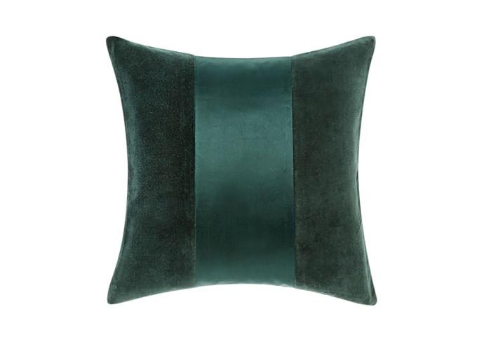 "Grosvenor petrol cushion, $54.95, [Linen House](https://www.linenhouse.com/|target=""_blank""|rel=""nofollow"")"