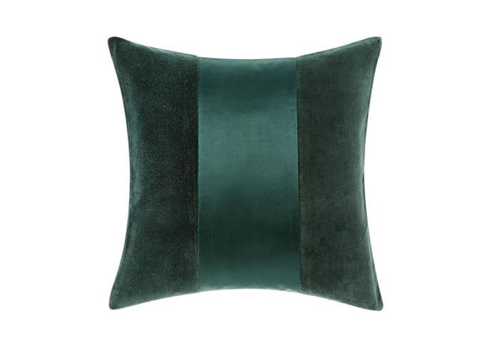 "Grosvenor petrol cushion, $54.95, [Linen House](https://www.linenhouse.com/ target=""_blank"" rel=""nofollow"")"