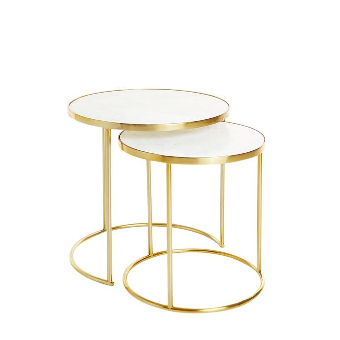 "Mirrored nesting tables, $299 for set of 2, [Zara Home](https://www.zarahome.com/au/search.html?term=nesting%20table|target=""_blank""