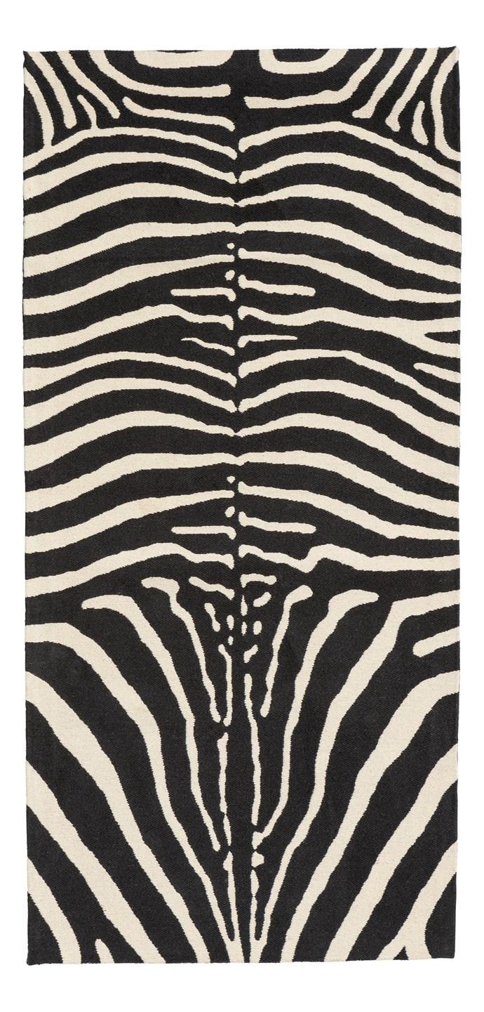 "Zebra-patterned rug in Black, $59.99, [H&M Home](http://www2.hm.com/en_gb/productpage.0575303001.html|target=""_blank""|rel=""nofollow"")"