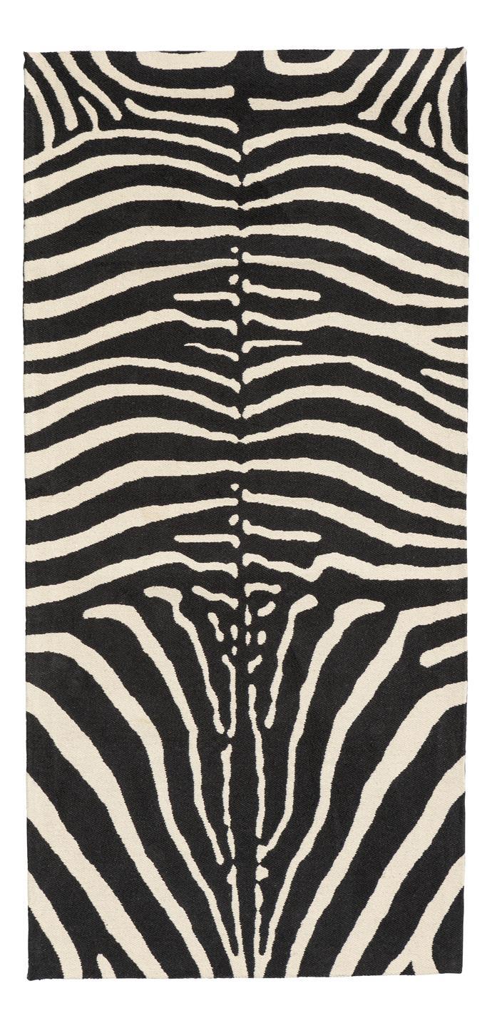 "Zebra-patterned rug in Black, $59.99, [H&M Home](http://www2.hm.com/en_gb/productpage.0575303001.html target=""_blank"" rel=""nofollow"")"